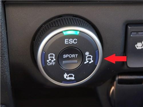 Шайба выбора режимов системы Lada Ride Select на XRAY Cross. Стрелкой показана позиция «cнег/грязь»