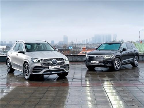 Mercedes-Benz GLE, Volkswagen Touareg - сравнительный тест. трудный выбор между «пакетным» mercedes-benz gle 2020 и «навороченным» volkswagen touareg 2019