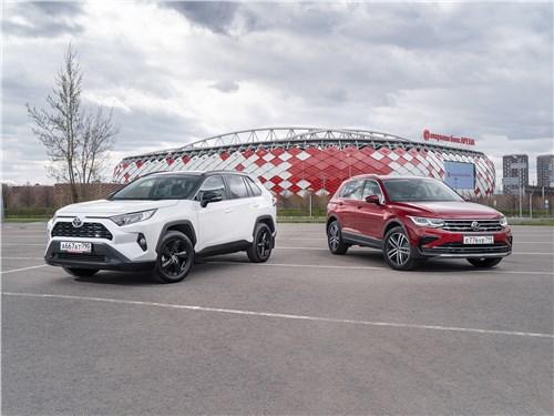 Volkswagen Tiguan, Toyota RAV4 - сравнительный тест toyota rav4 2.5 ат8 awd и volkswagen tiguan 2.0 tsi 4motion dsg7 штатив и секундомер позволили понять суть