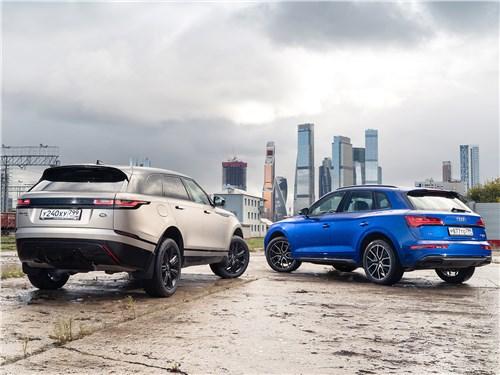 Audi Q5 и Range Rover Velar вид сзади