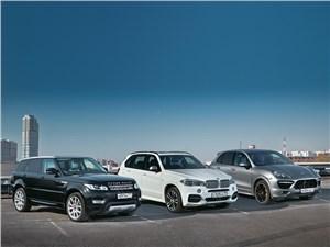Porsche Cayenne Turbo, Land Rover Range Rover Sport, BMW X5 M - сравнительный тест range rover sport, bmw x5 и porsche cayenne
