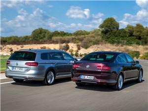 Volkswagen Passat 2015 седан и универсал вид сзади