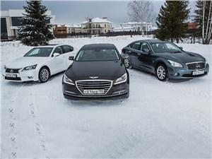 Infiniti Q70, Hyundai Genesis, Lexus GS - сравнительный тест hyundai genesis (поколение ii), infiniti q70 (поколение i), lexus gs (поколение v) - атака с тыла