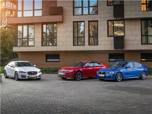 Jaguar XE, Audi A4, BMW 3 series - сравнительный тест. audi a4 2016, bmw 3 2016, jaguar xe 2016. триколор
