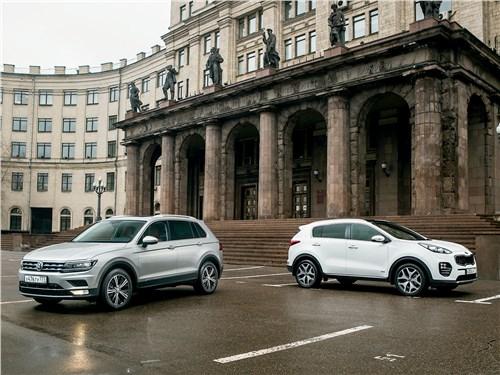 KIA Sportage, Volkswagen Tiguan - сравнительный тест: kia sportage 2016 и volkswagen tiguan 2017. попробуй, догони!