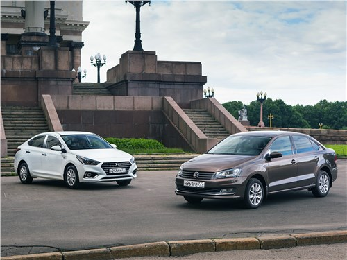 Volkswagen Polo Sedan, Hyundai Solaris - сравнительный тест hyundai solaris 2017 и volkswagen polo sedan 2016 стар и млад