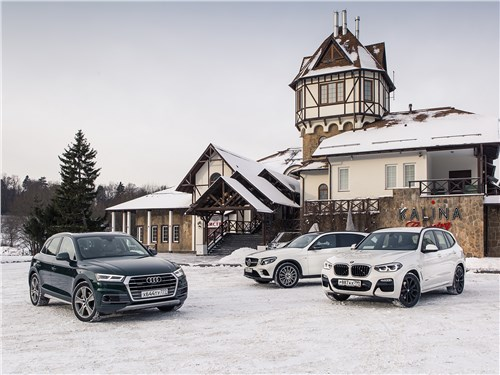 Mercedes-Benz GLC , Audi Q5, BMW X3 - сравнительный тест. mercedes-benz glc отбивает атаку конкурентов: audi q5 и bmw x3