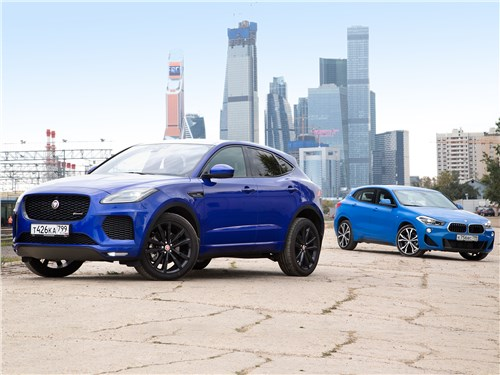 Jaguar E-Pace, BMW X2 - сравнительный тест bmw x2 20d xdrive 2019 и jaguar e-pace d240 2018: компактный спорт