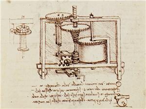 Набросок прототипа вариативной трансмиссии в рукописях Леонардо
