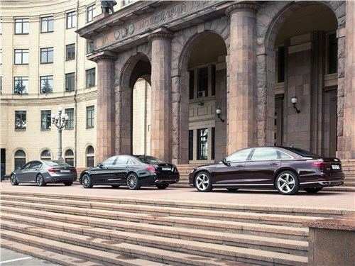 Audi A8 L 55 TFSI (3.0) quattro 2018, BMW M760Li xDrive 2017, Mercedes-Benz S 560 4Matic 2018
