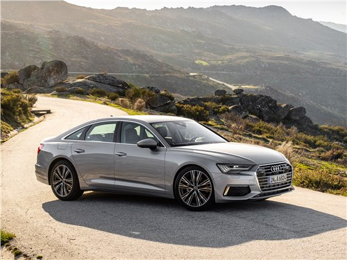 Audi A6 2019 вид спереди сбоку