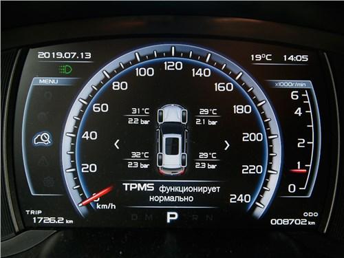 Нарисованная» панель приборов китайского кроссовера Geely Atlas показывает, в частности, давление и температуру воздуха в шинах