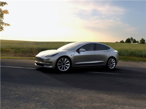 Tesla Motors Model 3 - Tesla Model 3 concept 2016 вид спереди сбоку