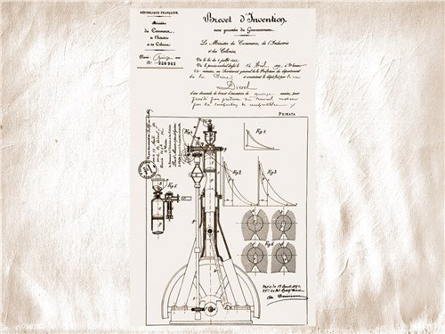 Чертеж нового мотора, приложенный к патентной заявке Дизеля