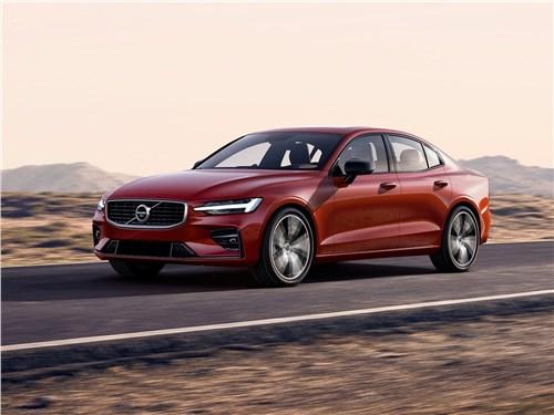 От большого к большему: Volvo S60, BMW 5, Mercedes S-класс, Audi A8, Porsche Panamera S60 - Volvo S60 2019 вид спереди сбоку