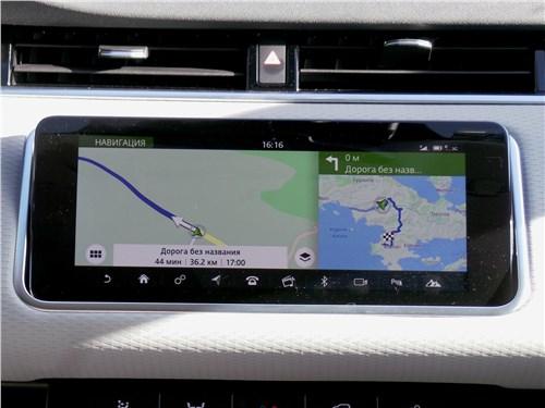 Центральный дисплей на Range Rover Evoque противостоит бликам благодаря высочайшему разрешению и качеству картинки