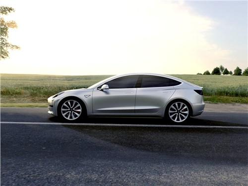 Tesla Model 3 concept 2016 вид сбоку