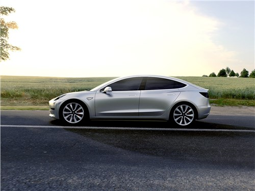 Tesla Motors Model 3 - Tesla Model 3 concept 2016 вид сбоку