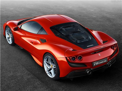 Ferrari F8 Tributo 2020 вид сзади сверху