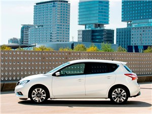 Nissan Pulsar 2015 вид сбоку белый