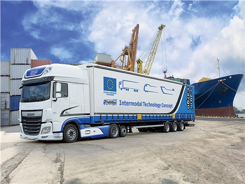 Прототип низкорамного седельного тягача DAF XF 440 FTR TelliSys – взгляд на будущее контейнерных перевозок