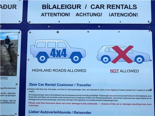 Знак информирует о запрете движения переднеприводных легковушек по высокогорным дорогам