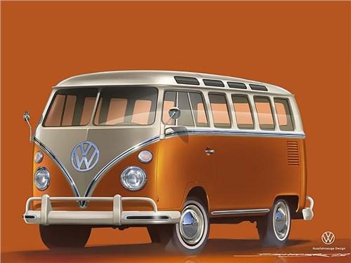 Volkswagen представил электрический Ретро-фургон