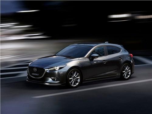 Бестселлеры рынка (Chevrolet Viva, Daewoo Nexia, Ford Focus II, Mazda 3, Mitsubishi Lancer, Nissan Almera, Renault Megane) 3 - Mazda 3 2017 вид спереди