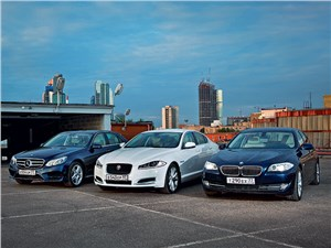 BMW 5 series, Jaguar XF, Mercedes-Benz E-Class