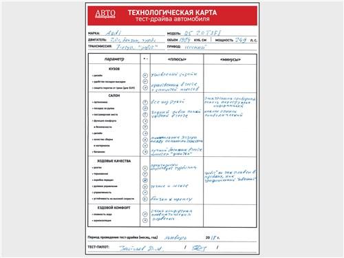 Технологическая карта тест-драйва автомобиля Audi Q5 2017