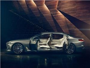 Предпросмотр bmw vision future luxury concept 2014 вид сбоку с открытыми дверями
