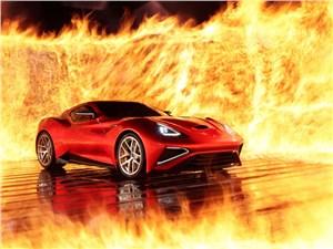 Icona Vulcano - красивый суперкар, вид спереди в три четверти