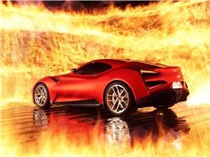 Icona Vulcano красного цвета вид сзади в три четверти