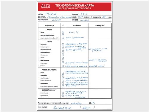 Технологическая карта тест-драйва Mazda CX-5 2017