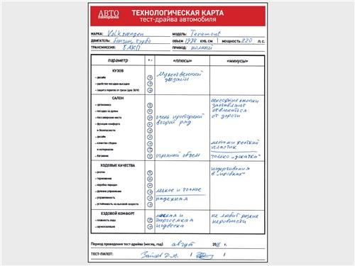 Технологическая карта тест-драйва автомобиля Volkswagen Teramont 2018