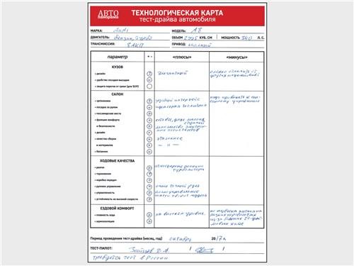 Технологическая карта тест-драйва автомобиля Audi A8 2018