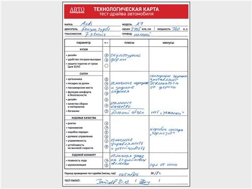 Технологическая карта тест-драйва автомобиля Audi A7 Sportback 55 TFSI quattro 2018