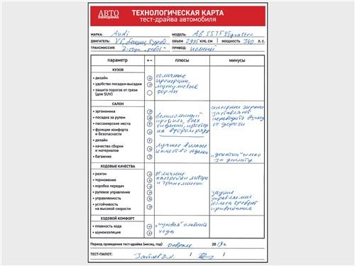 Технологическая карта тест-драйва автомобиля Audi A6 55 TFSI quattro 2019