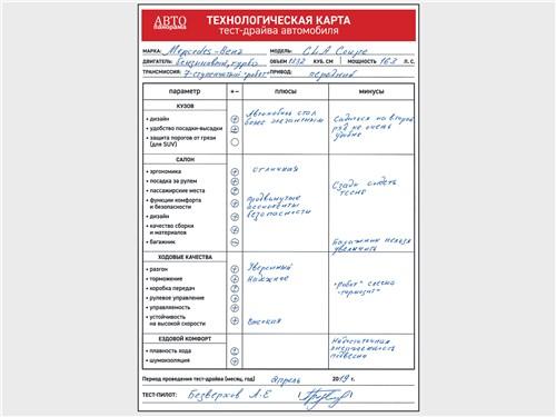 Технологическая карта тест-драйва автомобиля Mercedes-Benz CLA 2020