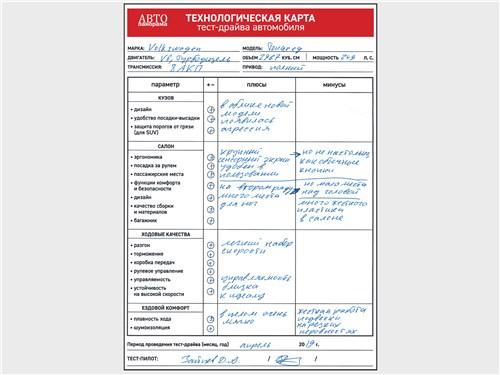 Технологическая карта тест-драйва автомобиля Volkswagen Touareg 3.0 TDI 2019
