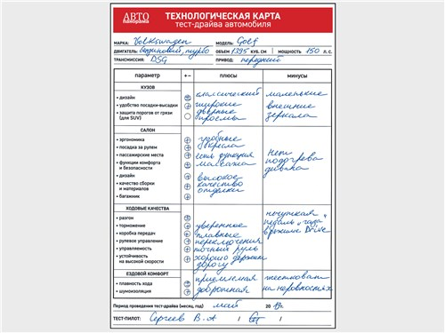 Технологическая карта тест-драйва автомобиля Volkswagen Golf 1.4 TSI DSG7 2017