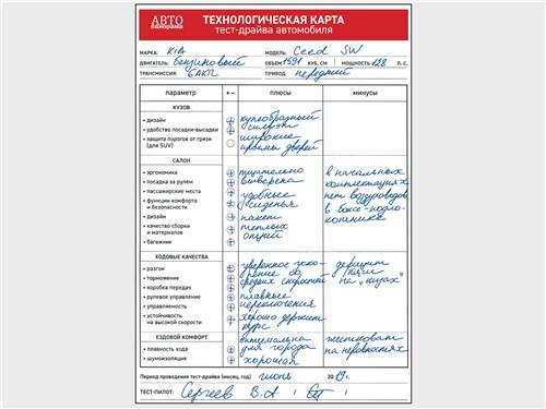 Технологическая карта тест-драйва автомобиля KIA Ceed SW 1.6 AТ6 2019