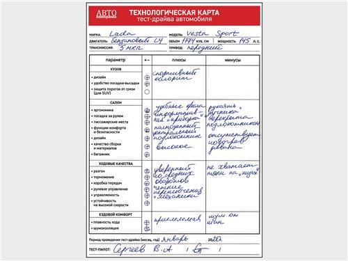 Технологическая карта тест-драйва автомобиля Lada Vesta Sport 2019