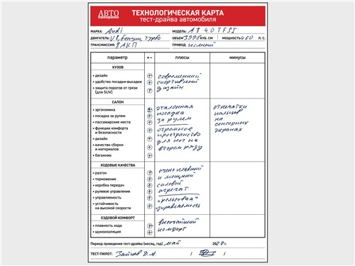 Технологическая карта тест-драйва автомобиля Audi A8 60 L TFSI quattro 2018
