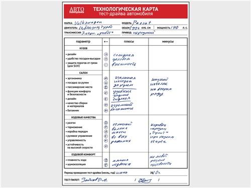 Технологическая карта тест-драйва Volkswagen Passat 2.0 TSI 2020