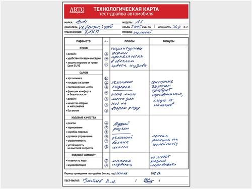 Технологическая карта тест-драйва Audi A8 L 55 TFSI quattro 2018