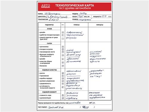 Технологическая карта тест-драйва Volkswagen Jetta 1.4 TSI 2019