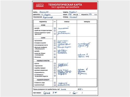 Технологическая карта тест-драйва автомобиля Renault Kaptur (2020)