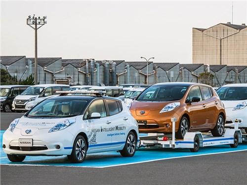 Новость про Nissan - Nissan приспособил электрический Leaf для транспортировки других автомобилей