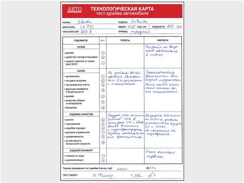 Технологическая карта тест-драйва Skoda Octavia (2020)